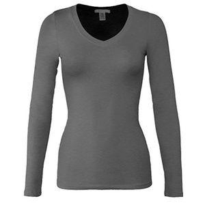 Tops - Basic Heather Charcoal Long Sleeve V Neck